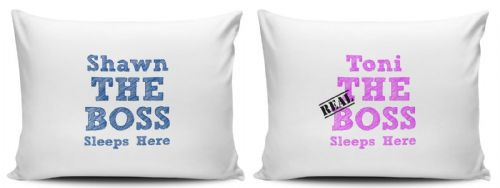 Personalised Set Of The Boss Sleeps Here Pillow Cases